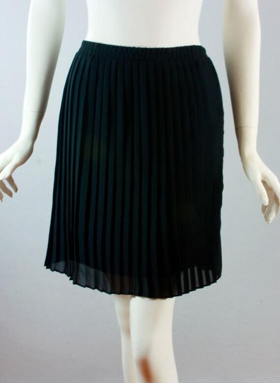 Vintage womens knife pleated semi sheer short skirt L large