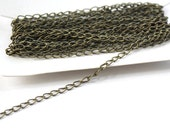 Bulk Cable Chain Antiqued Brass Steel- 5 Meters (16.4 Feet) 5x3mm Twisted Links