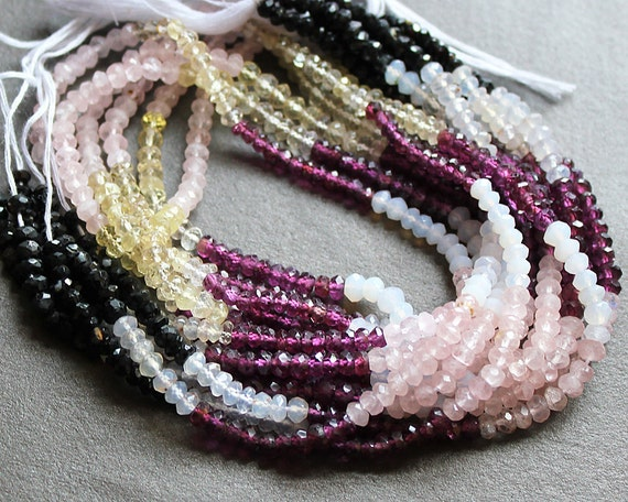 Multi Gemstone Faceted Rondelle Beads 3x2mm FULL STRAND (Opal, Pink Garnet, Lemon Quartz, Rose Quartz, Black Tourmaline)