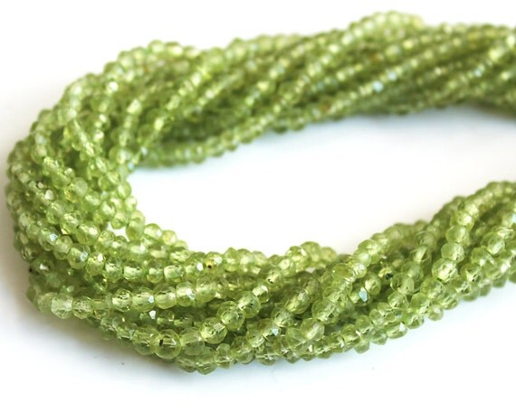 Peridot Micro Faceted 2.5mm Rondelle Gemstone Beads FULL STRAND (14 inches)