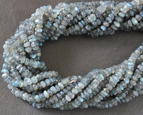 Labradorite Faceted Rondelle Gemstone Beads 4mm WHOLE STRAND (14 Inches)
