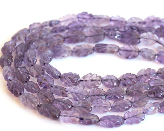 Amethyst Carved Leaves Gemstone Beads 9x7mm HALF STRAND (7 Inches)