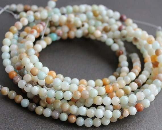 Amazonite Beads 4mm Round - Multi Color - FULL STRAND (16 Inches)