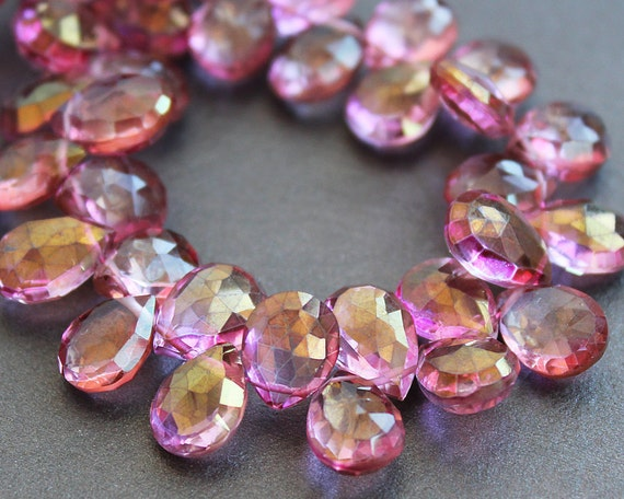 Pink Mystic Quartz Faceted Pear Briolettes 10mm (4 Gemstone Beads)