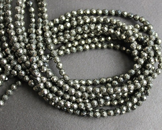 4mm Pyrite Faceted Round Beads FULL STRAND (15 Inches)