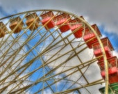 Carnival Photography Ferris Wheel Color Photograph Summer Afternoon Amusement Park Colorful Red Home Decor Art Print Nursery