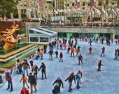 New York Photograph - Ice Skating - Rockefeller Center - New York City - Winter - Christmas - Joy - Snow - Art Print