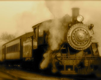 Steam Engine, Fine Art Photography, Vintage Train Photograph, Sepia, New Hope-Ivyland Railroad, Bucks County, Pennsylvania, Home Decor