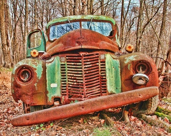 Rusty Old Green Truck in Autumn Color Photograph Vintage Car HDR Photograph Brown Green Rust Art Print Shabby Chic Home Decor