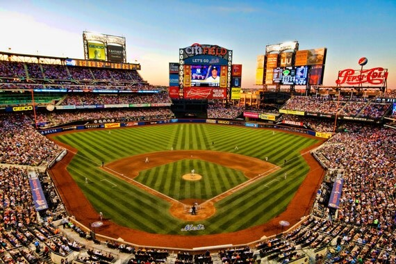 New York Mets Baseball Stadium Photograph Citi Field Color Photography Subway Series New York City Sports Spring Summer Green Art Print