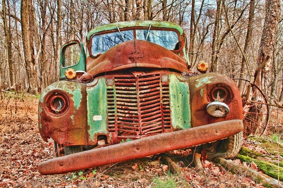 Rustic Photography, Rusty, Autumn, Vintage, Rusty Old Green Truck, Car, HDR Photograph, Art Print, 6X9, Other Sizes Available