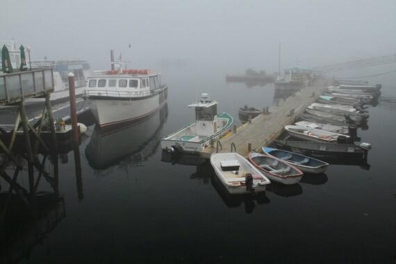 Bar Harbor Photograph Morning Boats Rustic Decor Maine Photograph Pier Coast Nautical Fog and Mist Monochrome Peaceful Home Decor Art Print