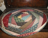 Primitive Oval Crazy Quilted Table Topper   Hand Quilted