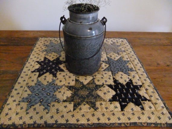 Blue Star Quilted Table Topper-Wall Hanging