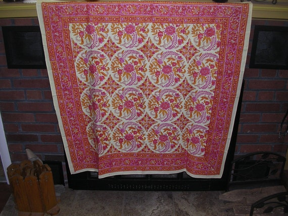 RESERVED Dani not available    GORGEOUS Japanese vintage cotton Furoshiki panel   Rosy Pink  38 x 37 inches