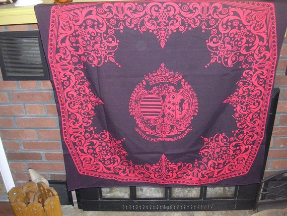 RESERVED Kenji not available   LION Crest  vintage Japanese cotton Furoshiki panel  Deep Purple  34 x 34 inches
