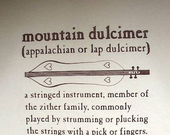 Hand Screenprinted Mountain Dulcimer Definition T-Shirt