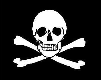 PIRATE Jolly Roger Flag T-Shirt white on black XXL