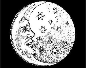 Hand Screened Man in the Moon T-Shirt; size medium