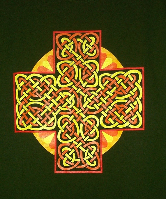 Celtic Sun Cross T Shirt 4 colors on Forest Green