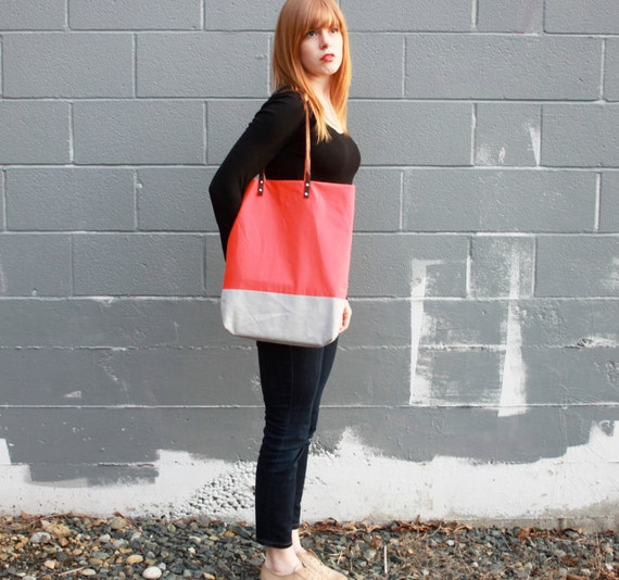 tote bag purse in coral and gray color block with leather straps by rouge & whimsy
