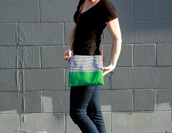 stripe purse crossbody bag with green and leather straps by rouge and whimsy