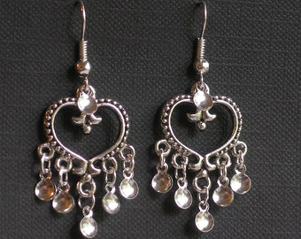 Eydis - Antique Silver Plated Heart Traditional Norwegian Solje Style Earrings with silver drops