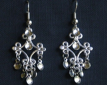Arnora - Traditional Norwegian Solje Style Earrings with Silver Drops