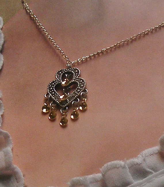 Traditional Norwegian Antique Double Heart Solje Style Necklace with golden drops
