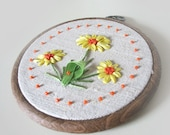 Hand Embroidered Wall Hanging - CHRISTMAS FLOWERS - Reserved
