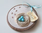 Organic Hand Embroidered Wall Hanging Nest with Robin Eggs- I WILL BE BACK - BelleCoccinelle