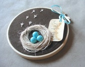 Reserved - Wall Hanging Nest with Robin Eggs- I WILL BE BACK