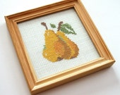 Vintage Framed Cross Stitch Embroidery JUICY PEARS