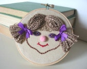 Hand Embroidered Wall Hanging Cute Little Girl - SWEETHEART