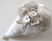 OOAK Romantic Doorknob Hanger Decorated with Vintage Lace, Pearl Buttons and Gold Beads - MY HEART