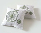 RESERVED Lavender Sachets VICTORIAN BICYCLE- Set of Two Linen Embroidered Cushions