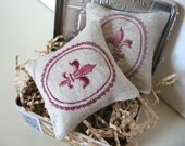 Lavender Sachets FLEUR DE LIS - Set of Two Embroidered Linen Cushions - tbteam