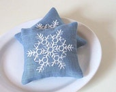 Lavender Sachets SNOWFLAKE- Set of Two Linen Embroidered Cushions