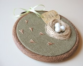 Organic Olive Hand Embroidered Wall Hanging Nest with White Eggs- LILLY'S NEST - tbteam - RESERVED