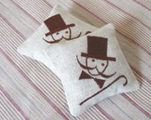 Organic Lavender Sachets MUSTACHES MAN - Set of Two Embroidered Linen Cushions - Last One