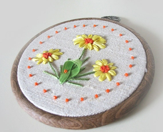 Hand Embroidered Wall Hanging CHRISTMAS FLOWERS Reserved