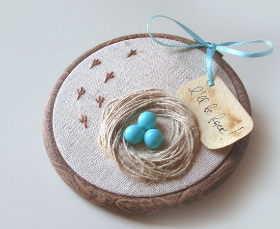 Organic Hand Embroidered Wall Hanging Nest with Robin Eggs- I WILL BE BACK - tbteam