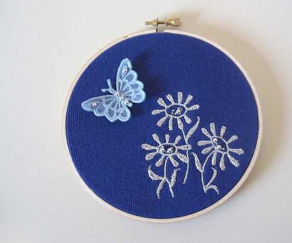 Reserved OOAK Embroidered Wall Hanging - HOLOGRAPHIC DAISIES