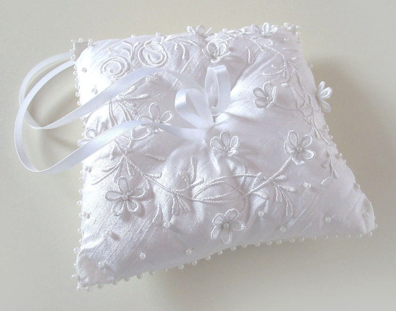 Ring Bearer Pillow CUSTOM Embroidered WEDDING RING Pillow - Made to Order - tbteam