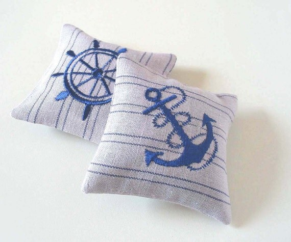 Organic Lavender Sachets  NAUTICAL - Set of Two Blue Embroidered  Linen Cushions - tbteam