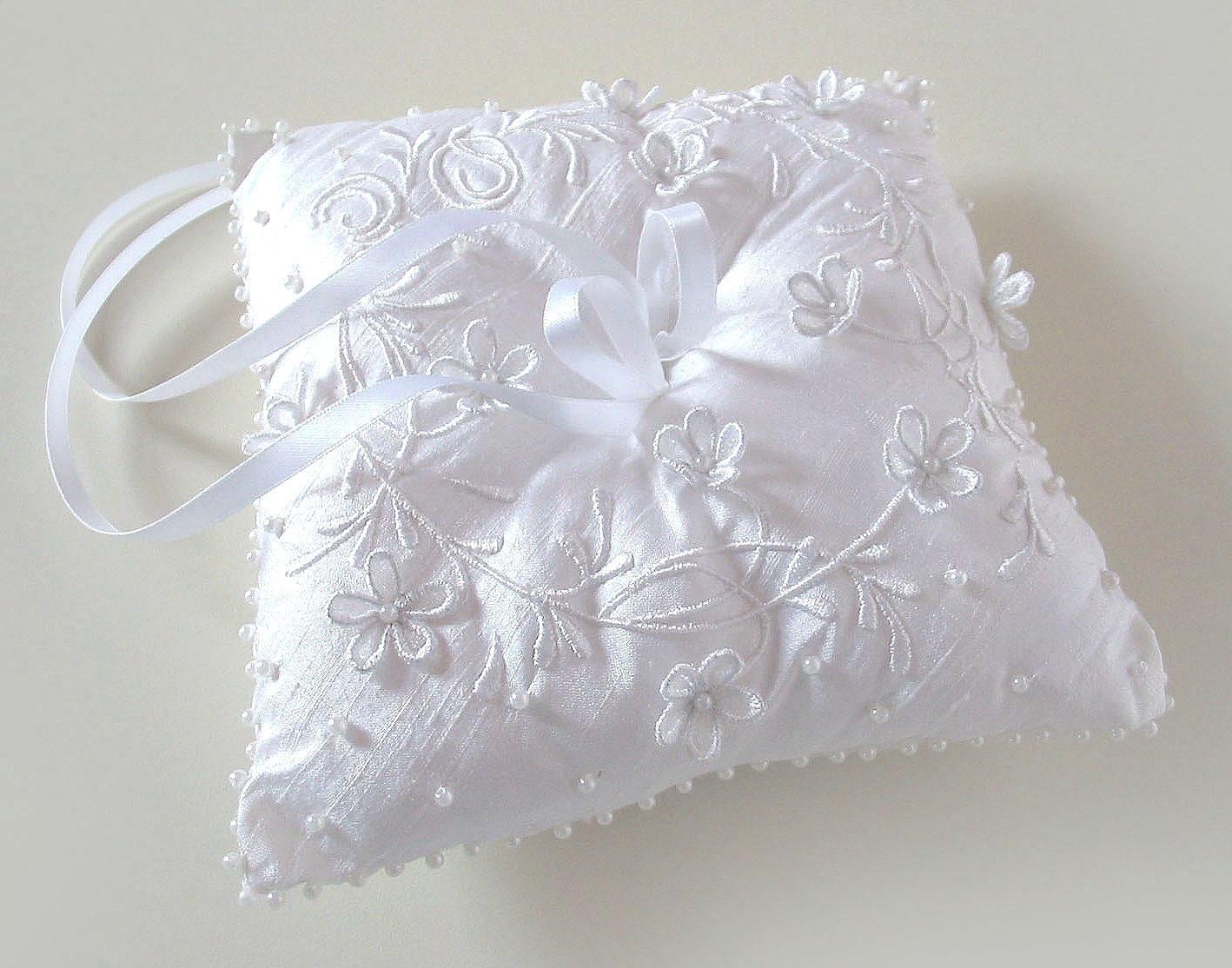 Ring bearer pillow custom embroidered wedding