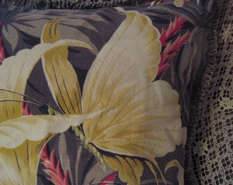 Rare Yellow Butterfly Vintage Barkcloth Pillow