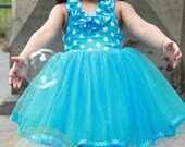 Spring Tutu Dress in Blue  and White Polka Dots