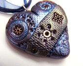 Steampunk heart copper blue gear metall gothic,men jewelry polymer clay pendant, Statement eco friendly, beadwork bib boho necklace strand