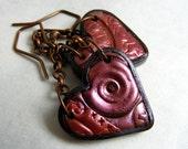 Steampunk earrings heart copper boho gear metallic gothic earrings dangling earrings, drop earrings, polymer clay button, cluster eco nature